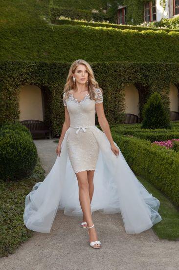 China Amelie Rocky Short Sleeve Short Wedding Dress with Detachable ...