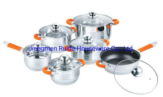 12PCS Stainless Steel Cookware Set with Orange Silicone Handle in Glass Lid