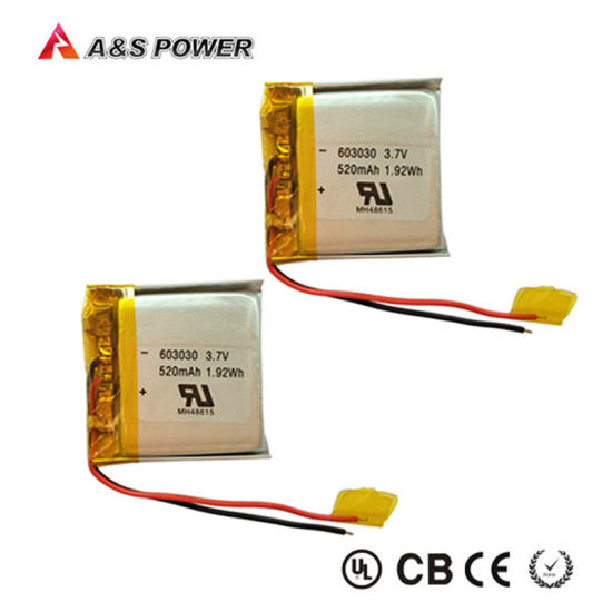 UL 603030 Rechargeable 3.7V 520mAh Lithium Polymer Battery pictures & photos