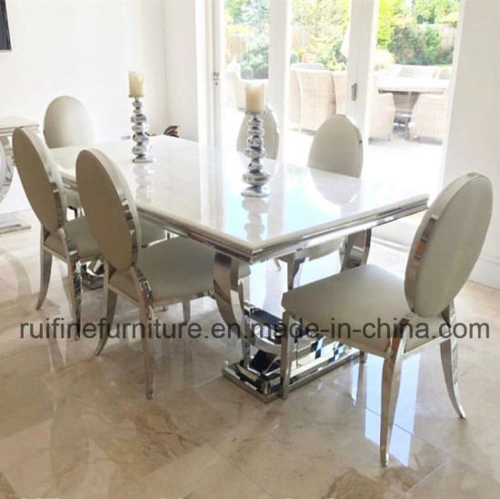Modern Stainless Steel Chrome Dining Table Snakeskin Leather Velvet Dining  Chairs With Oval Back