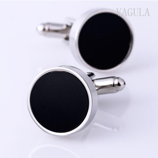 VAGULA Round Black Agate Cuff Links 10122