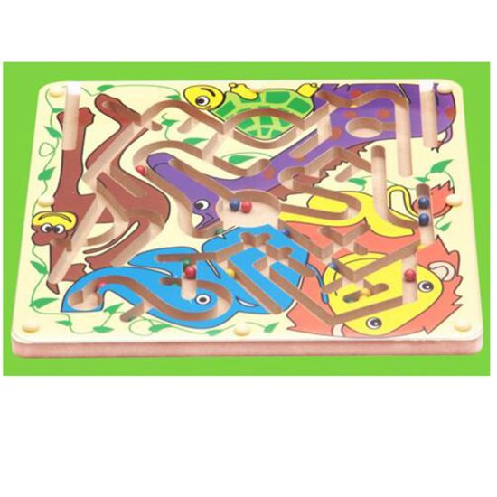 China Children Wooden Cartoon Magnetic Pen Beads Maze Track