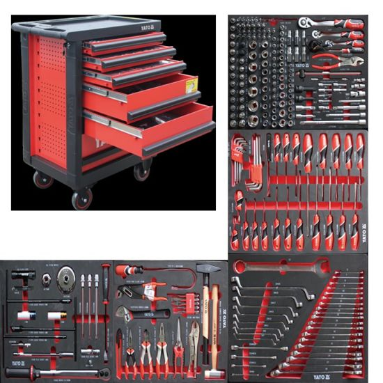 261 PCS Hand Tool Box with Wheels Tool Car Roller Tool Cabinet for BMW Car Repair
