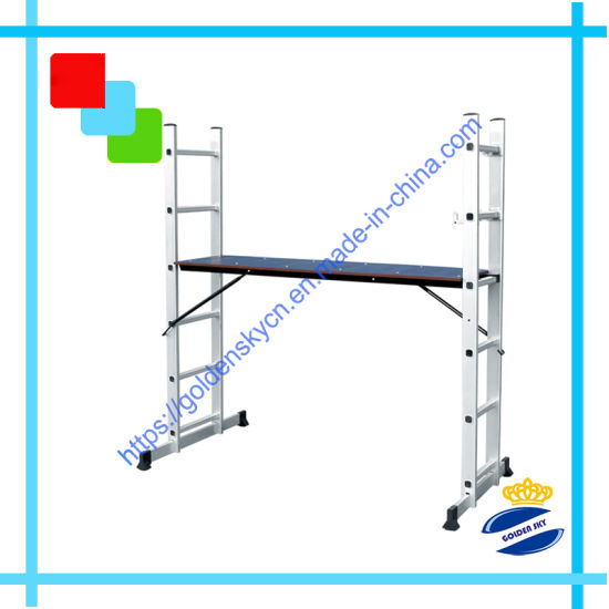 Aluminium Portable Adjustable Ladder Scaffoldings with En131 Approval HS-206 pictures & photos