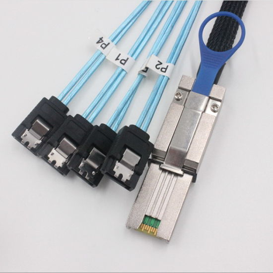 Mini Sas Sff-8088 to 4*180 Degree 7p SATA Cable pictures & photos