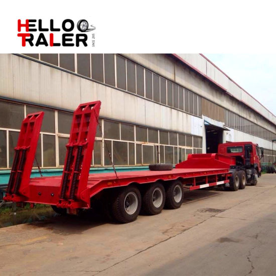 China Helloo Trailer Low Bed Semi Trailer 3 Axles
