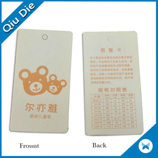 Shadow Cloor Paper Tag for Clothing Accessories pictures & photos