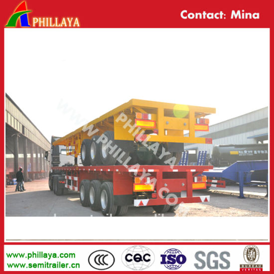 Tri Axle Flatbed 40FT Cimc Container Semi Trailer for Sale pictures & photos