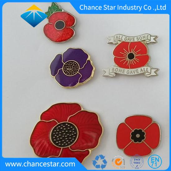 Custom Metal Poppy Flower Enamel Lapel Pin Emblem Badge