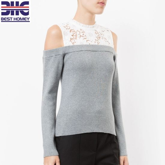 36ed9d3e3de0b8 Women′s Cold Shoulder Lace Embroidered Top Cotton Acrylic Knitted Pullover  Sweater