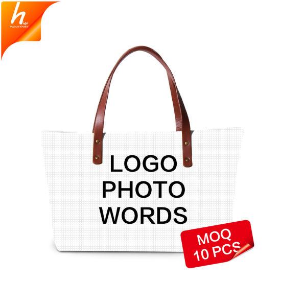 Custom Logo Design Large Tote Bag Blank Zipper Handbag Dropshipping