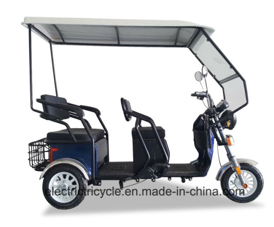 Hot Sale 3 Seat Passenger Electric Three Wheel Adult Bike Tricycle with Roof