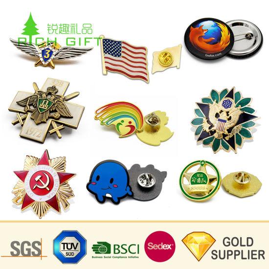 Custom Promotion Brass Brooch Souvenir Zinc Alloy Flower Logo Gold Flag Metal Craft Emblem Soft Enamel Police Badge Lapel Pin for Promotional Gift No Minimum
