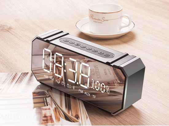 Dg100 Clock Bluetooth Speaker Computer Phone Car Subwoofer U Disk Mini Speaker LED Bedside Alarm Clock Mirror Audio