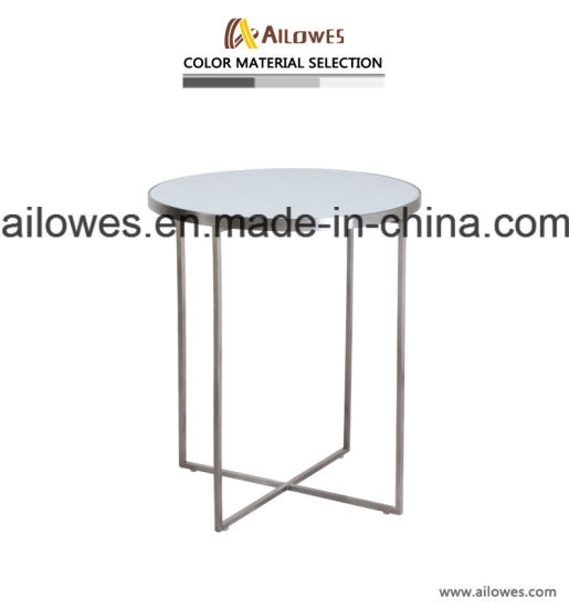 Metal Furniture Round White Glass Top Gold Stainless Steel Leisure Coffee Shop Side End Table Set