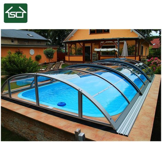 Solar Pool Cover Retractable Swimming Pool Cover Swimming Pool Glass  Enclosure