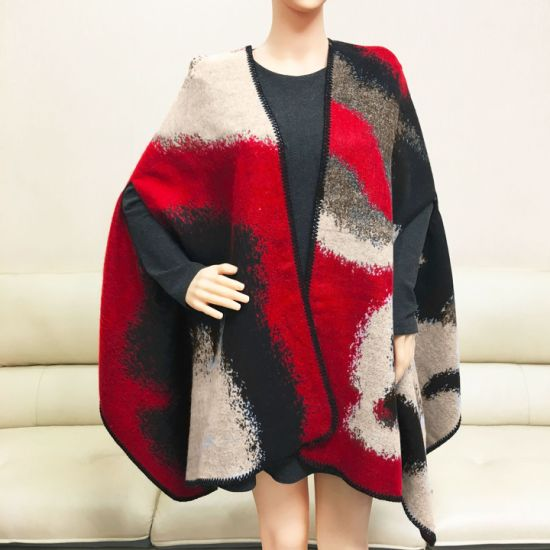 Double-Sided Khaki Red Geometric Jacquard Cashmere Thick Scarf Shawl