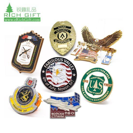 No MOQ Custom Logo Wholesale Souvenir Lapel Pin 3D Metal/Button/Tin/Police/Army/Military/Flag /Emblem/Name/Car/Hard Soft Enamel/Medal Badge for Promotional Gift