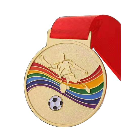 China Wholesale Custom 3D Metal Gold Plating Football Sports Award Medal with Sublimation Ribbon Lanyard