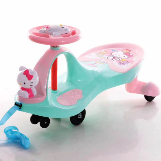 New Model Cartoon Baby Swing Car with PU PVC Wheels