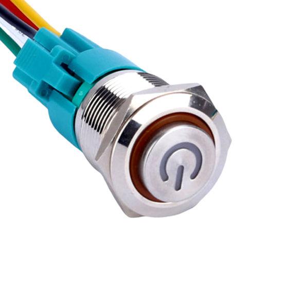 Brass Doorbell Push Switch Harness Wire 19mm Waterproof Button