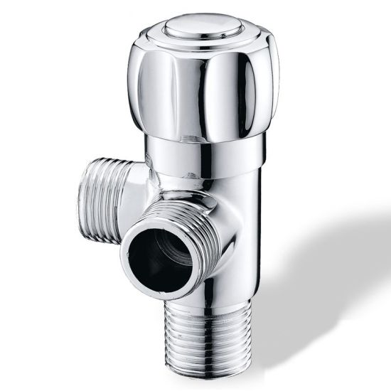 Luolin Bathroom 3 Way Angle Valve Hose Connector Double Control Splitter Shut-off Water Corner Valve Fitting, Chrome 25-10
