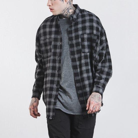 OEM Custom 100% Cotton Long Sleeve Wholesale Plaid Flannel Shirt Men
