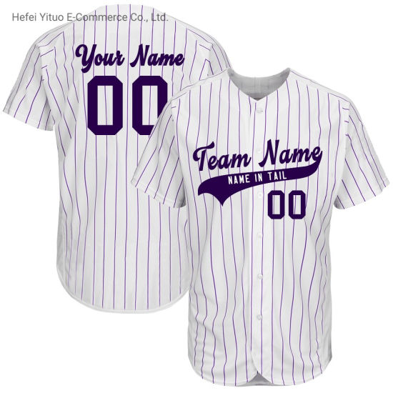 Embroidery Stitches Wholesale Moisture-Wicking Striped Baseball Jerseys
