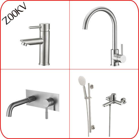 304 Stainless Steel Kitchen Bathroom Basin Water Hand Shower Bath Shower Sink Mixer Taps