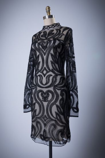 Good Quality Best Selling Sytle Black Long Sleeves Evening Dress