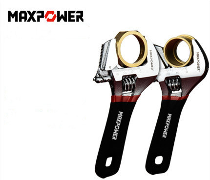 Wide Opening Short Handle Adjustable Wrench