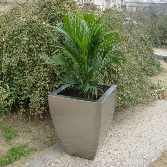 Fo 9021 Tapered Stainless Steel Planter