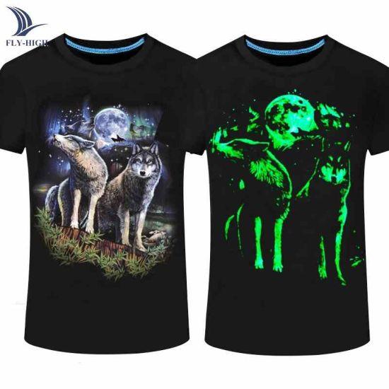Skull Summer Clothing Glow in The Dark Shirts for Men Cotton Luminous Paint T Shirt Men Printing