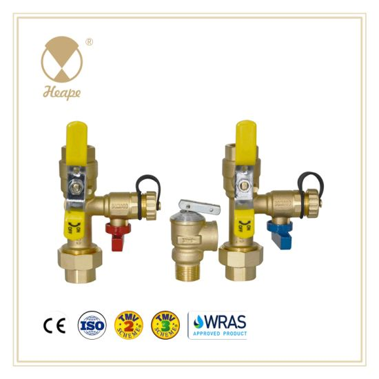 Heape Brass Water Heater Service Valve for Hot Cold Water with Safety Valve