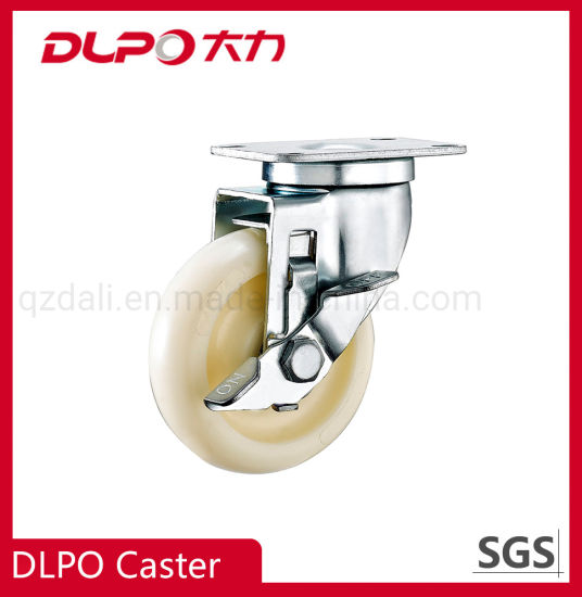 Zinc-Plated Medium-Duty PP Wheels Small Trolley Cart Caster with Side Brake