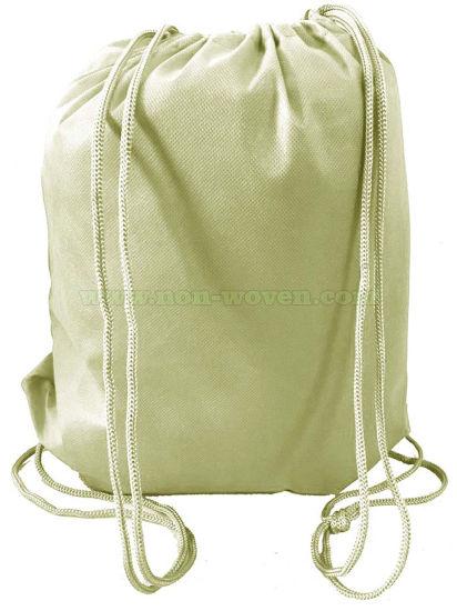 Nonwoven Backpack Drawstring Bag 27# Khaki