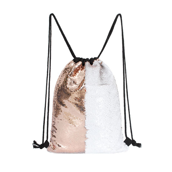 Magic Mermaid Sequin Fashion Drawstring Bag (Champagne/White)