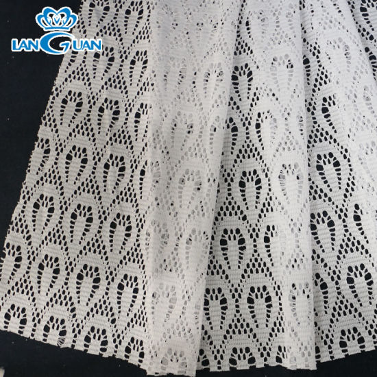 Factory Direct 145cm Polyester Lace Fabric White for Garments