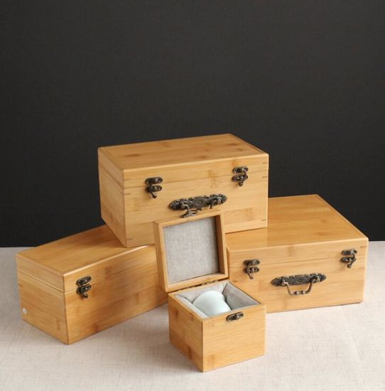 Free Lettering Top Grade and Eco-Friendly Natural Bamboo Gift Box for Cups and Tea Set, Pottery and Porcelain Antique Collection Box Packaging Gift Box pictures & photos