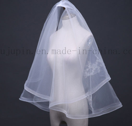 Custom Polyester Double Layer Wedding Bridal Veil with Embroider pictures & photos