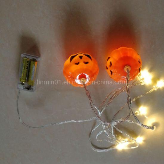 Custom Hallomas Plastic Pumpkin LED String Light with Printing