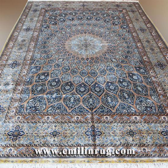 10x14 Large Blue Handmade Pure Silk