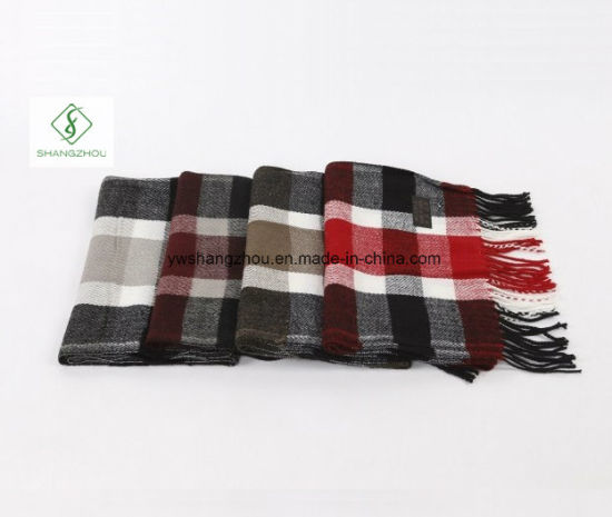 2017 High Quality Pashmina Plaid Fashion Acrylic Men′s Scarf pictures & photos