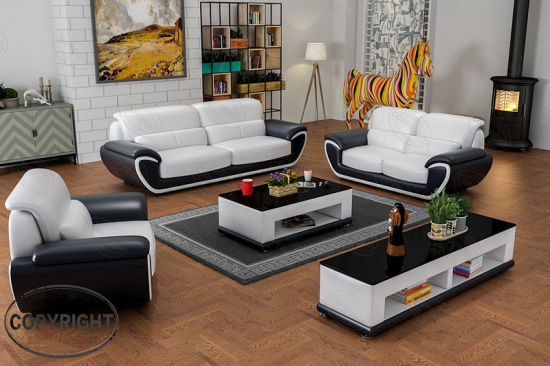 Popular Skinn Soffor Furniture with Real Leather for Living Room pictures & photos