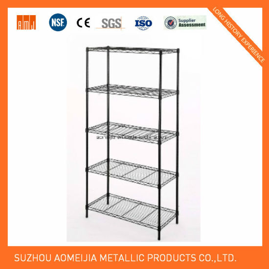 5 Tier Black Finish Metal Wire Display Stand pictures & photos