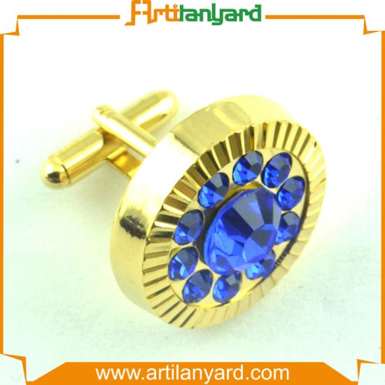 Cuff Links with Rhinestones and Plating Brass