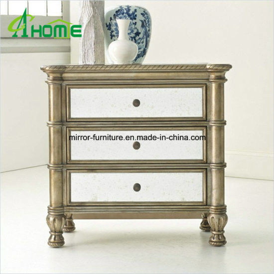Mirrored Bedside Table Chest Of 3 Drawers Nightstand
