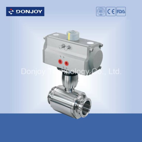Sanitary Ss 316L Pneumatic Butterfly-Type Ball Valve with Horizontal Actuator pictures & photos