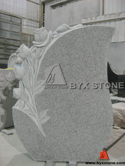 Cheap Design Beautiful Granite Stone Monument / Tombstone with Rose Hand-Carved pictures & photos