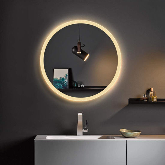 Hotel Washroom Bathroom Wall Mounted Decorative Round LED Lighted Mirror Manufacturer